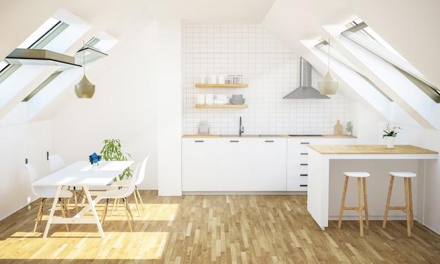 屋根裏アパートのキッチン
