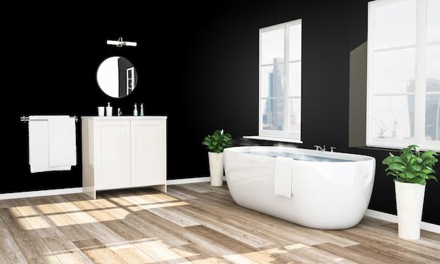 Черная и деревянная ванная комната готова к расслабляющей ванне