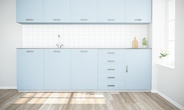最小限のモダンな青いキッチン