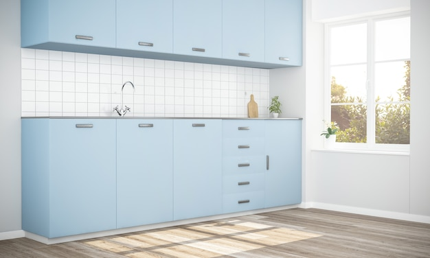 青いスタイリッシュなキッチン