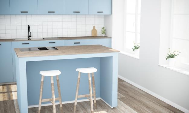 島を調理する最小限の青いモダンなキッチン