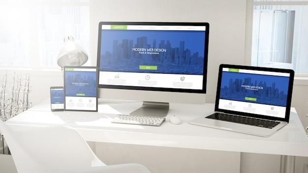 新鮮でモダンなレスポンシブデザインウェブサイトを備えたデスクトップデバイスのコンピューター、タブレット、ラップトップ、電話