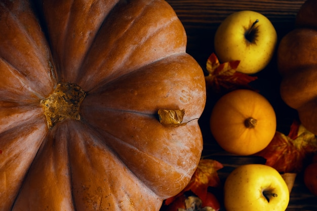 カボチャとリンゴの束。