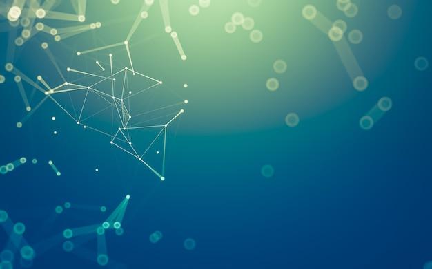 抽象的な背景。多角形の分子技術
