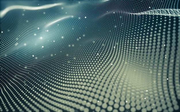 抽象的な背景。点と線をつなぐ多角形の分子技術。