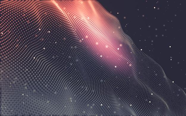 抽象的な背景。点と線をつなぐ多角形の分子技術