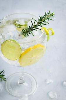 Алкогольный напиток, джин-тоник, коктейль, с лимоном, лаймом, розмарином и льдом.