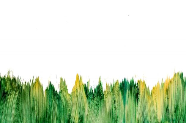 白で隔離されるアクション絵画水彩緑ブラシモックアップ。