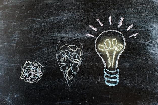 吊るした電球のチョークを描いた黒板