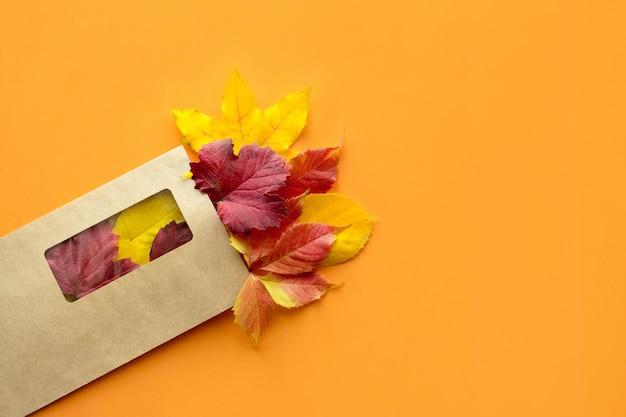 トップビュー、クラフト紙の郵便封筒の手紙と平らな秋の秋のモックアップ
