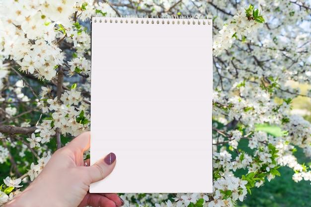 女性の手で白いノートブックと春の夏のモックアップ