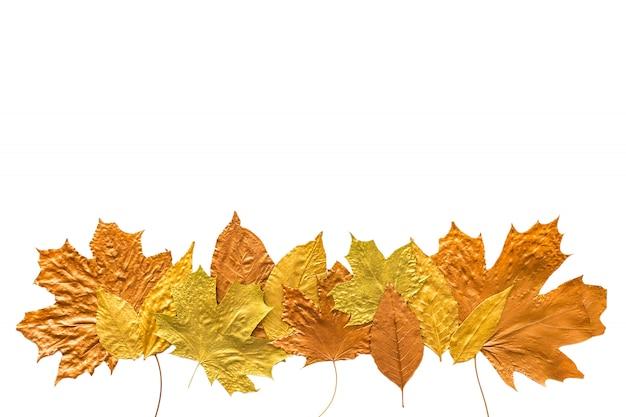 秋の金属金銅シルバーの葉は、白に隔離されて