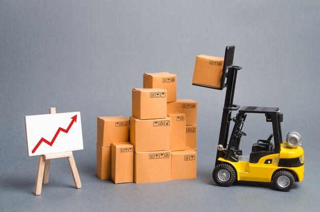 Желтый погрузчик с картонными коробками и красная стрелка вверх. увеличение продаж, производство товаров