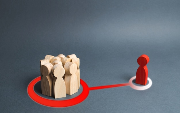 男と人の群衆の赤い図は抽象的な線で接続されています