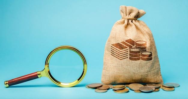 お金の袋と虫眼鏡。