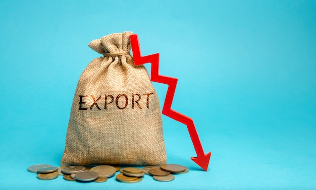Денежный мешок со словом экспорт и стрелка вниз.