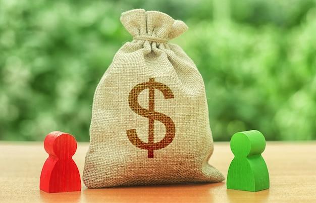 お金のドル記号と二人の数字とお金の袋。事業投資と貸付、リース