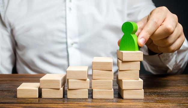 ビジネスマンは、キャリアのはしごで従業員を昇進させます。成功した労働者の昇進