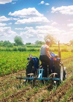 トラクターの農夫が畑を耕します。