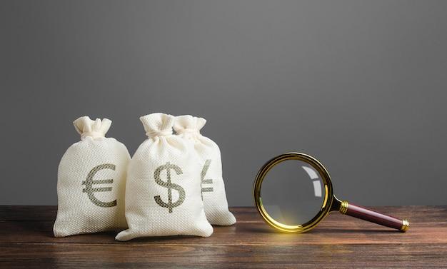 Три мешка денег и увеличительное стекло. поиск инвестиций и финансирование проектов.