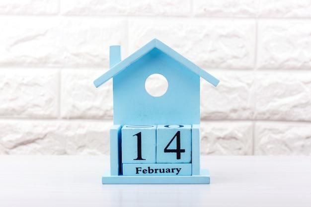 青いカレンダーのバレンタインデー
