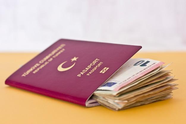 外国のパスポートと各国からのお金
