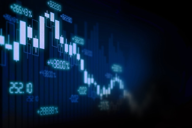 Фон графика финансового фондового рынка, экран технологии