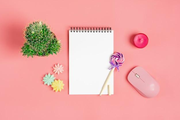 ノート、メレンゲ、ペン-ロリポップ、ピンクの背景に多肉植物ホーム花のための白いノート