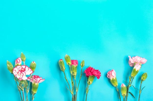 青のカラフルな背景に異なるピンクのカーネーションの花の花束