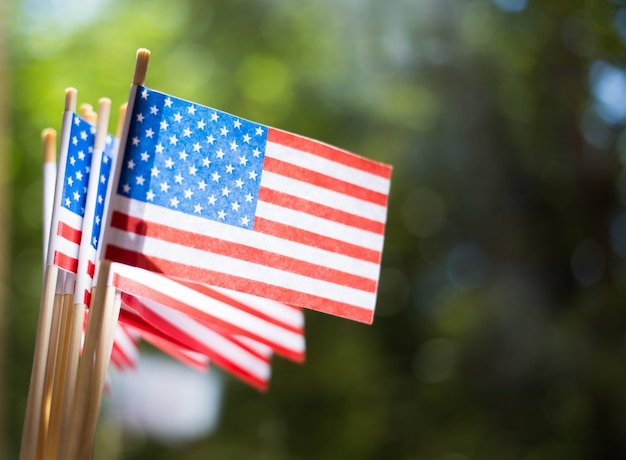 ミニチュア紙は米国を旗にします。屋外でぼやけた背景にアメリカの国旗