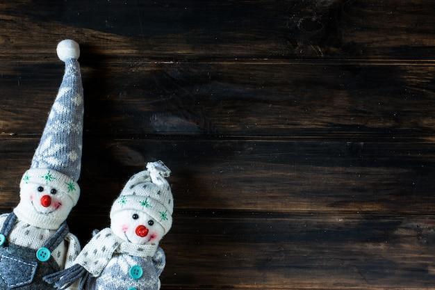 雪だるま、サンタ。冬。クリスマスの背景。新年の背景。クリスマスの組成。