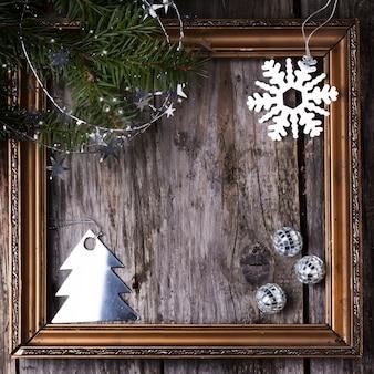 ビンテージフレーム付きのクリスマスカード