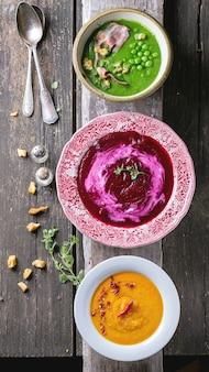 Ассорти из кремовых супов