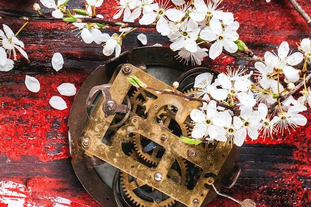 Старый часовой механизм с цветущей ветвью