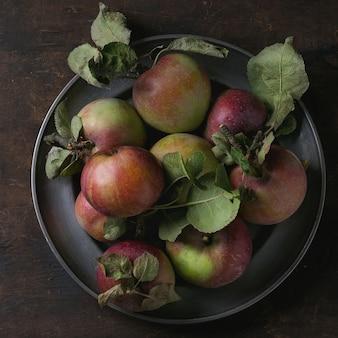 Яблоки с листьями