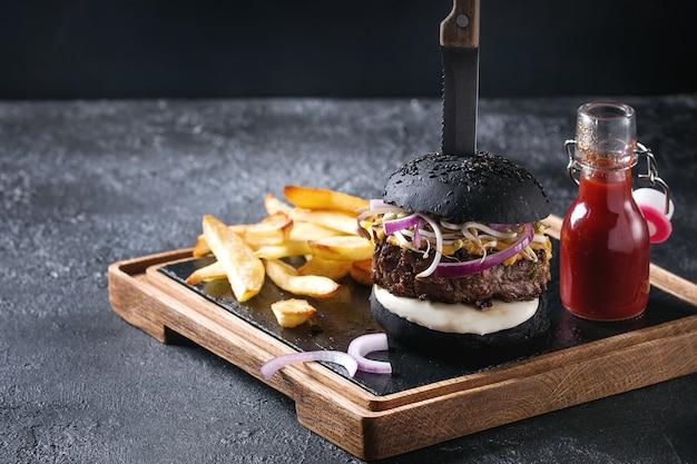 フライドポテトのハンバーガー