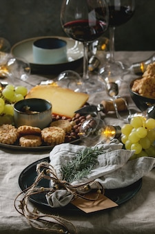 クリスマスディナーセットテーブル
