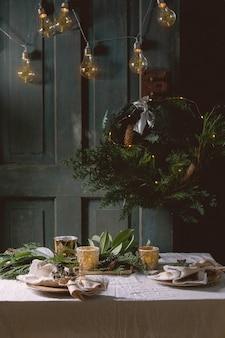 Сервировка стола на рождество или новый год