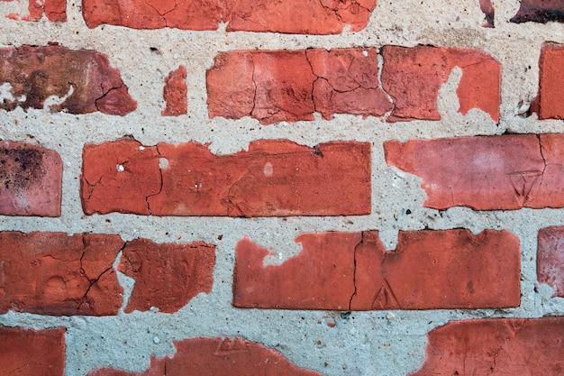 古いれんが造りの壁テクスチャ背景をクローズアップ。
