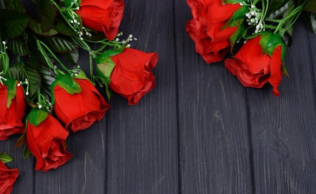 赤いバラの花バレンタインの日のお祝いバナーコラージュ