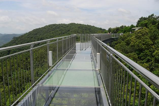 中国三亜市海南島のヤノダ熱帯雨林公園のガラス橋