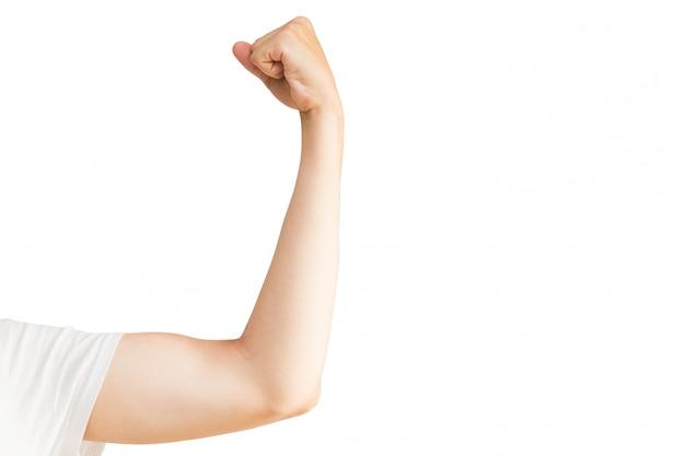 筋肉を持つ男の手。白い背景にスポーツマン。