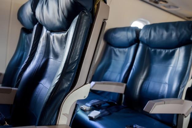 Интерьер самолета. салон современного пассажирского самолета.