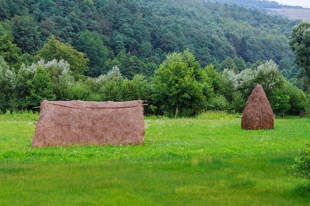 ウクライナのカルパティア山脈、背後にある干し草の山からの眺め