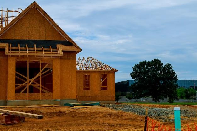 Новый дом в стадии строительства в нью-джерси, сша
