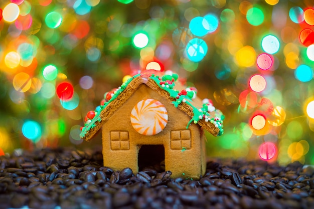 クリスマスのクッキーを示す幸せな若い主婦