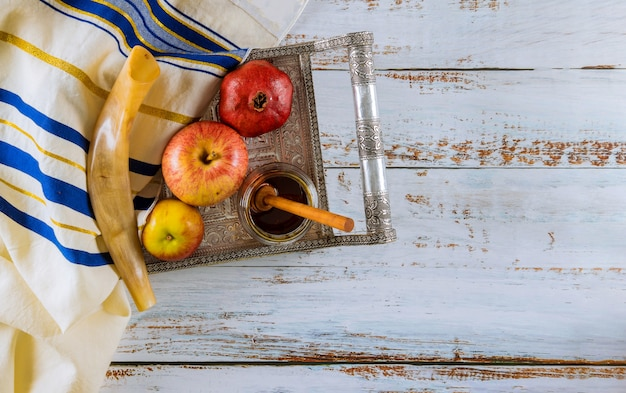 Рош ха-шана еврейский новый год праздник концепции.