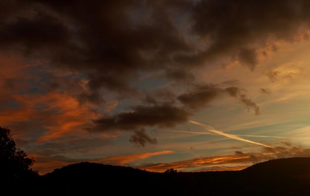 劇的な夕日の美しい空の木のシルエット