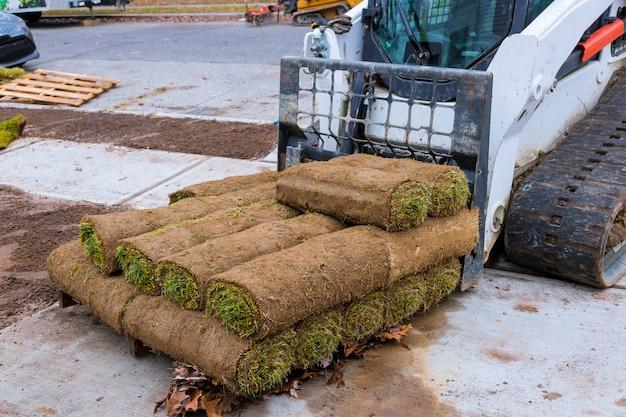 Современные технологии посадки газонов в ландшафтном дизайне рулонной травы крупным планом