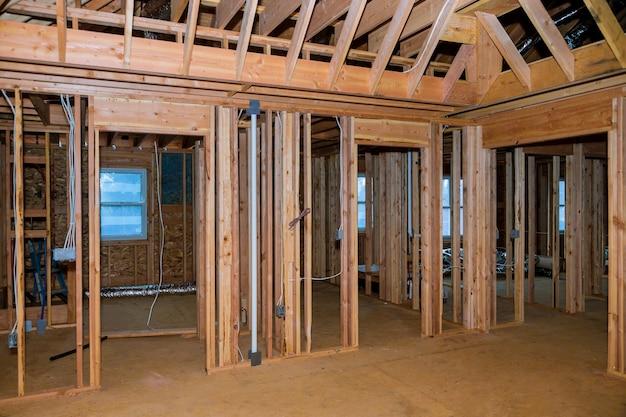 建設中の新しい家のビームスティックビルドフレーム